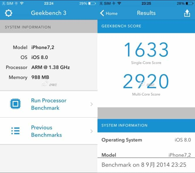Alleged iPhone 6 benchmarks: 1.4 GHz dual-core A8, 1GB RAM, 8MP camera