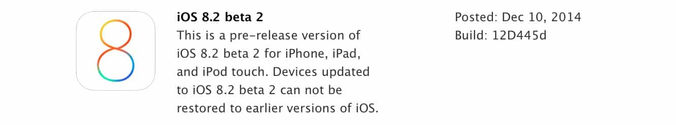 Apple releases iOS 8.2 beta 2 to developers