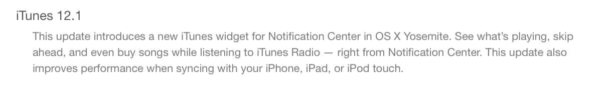 Apple releases iTunes 12.1 update, adds Notification Center widget