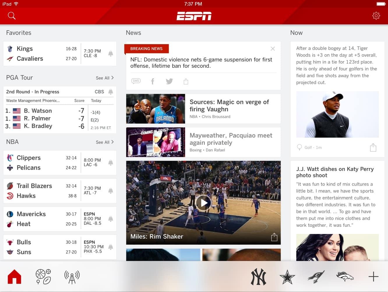 Apps: ESPN, Nike+ Fuel, Pinterest, Starbucks + Twitter