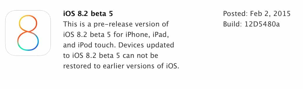 Apple releases iOS 8.2 beta 5 to developers
