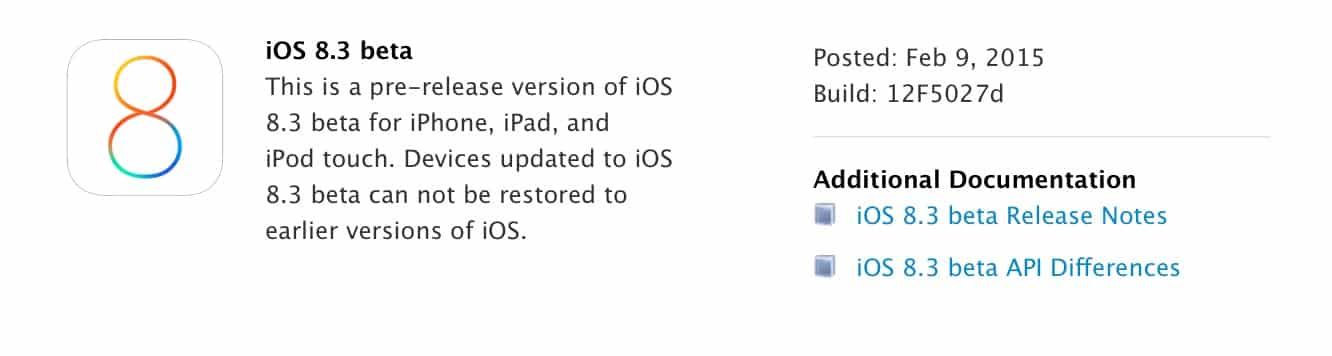 Apple releases iOS 8.3 beta to developers