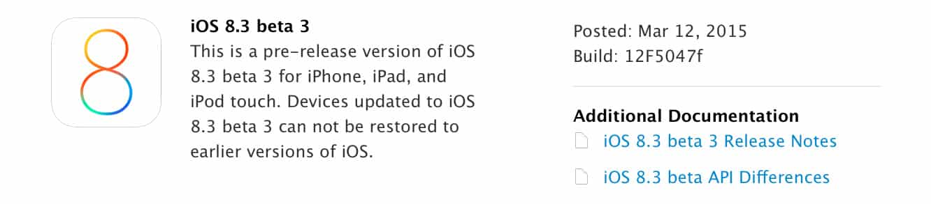 Apple releases iOS 8.3 beta 3 to developers (Update: iOS 8.3 Public Beta also released)