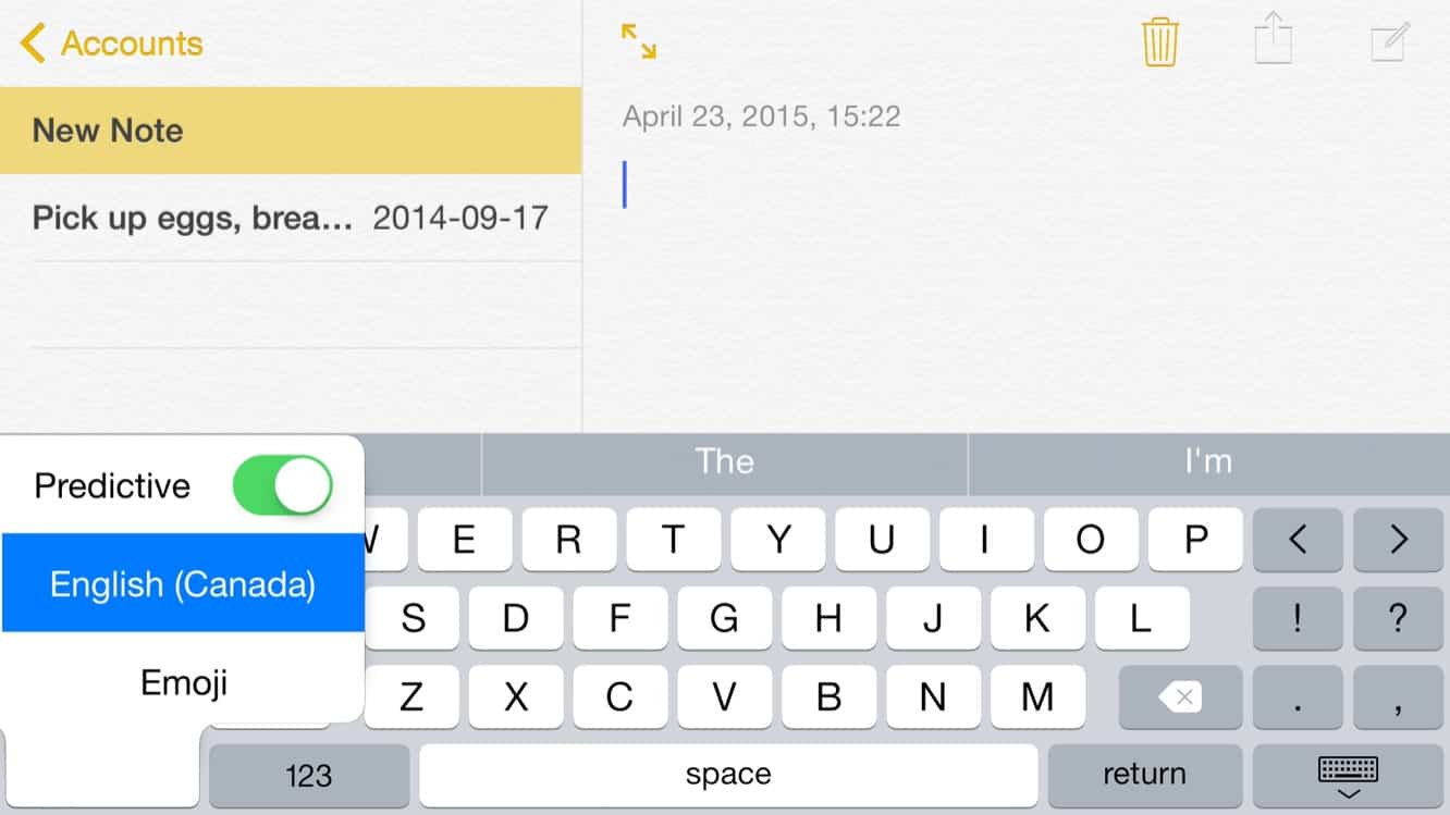 Quickly toggling the Predictive Text bar