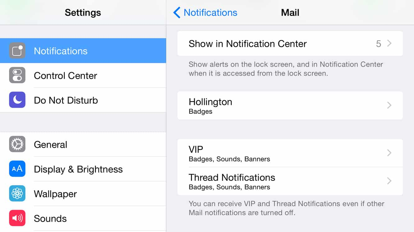 Using Thread Notifications in iOS Mail