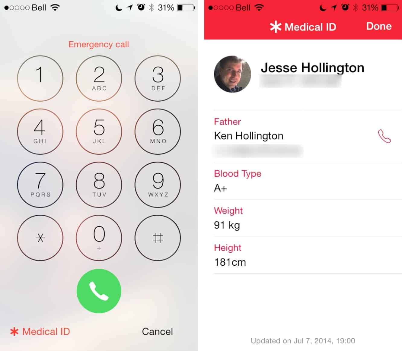 Displaying Emergency Contact Info in iOS 8
