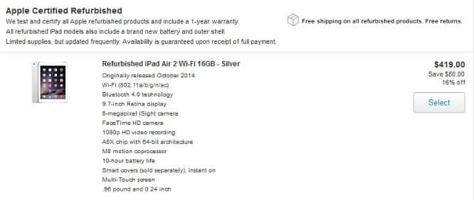 Refurbished iPad Air 2 models hit Apple Store