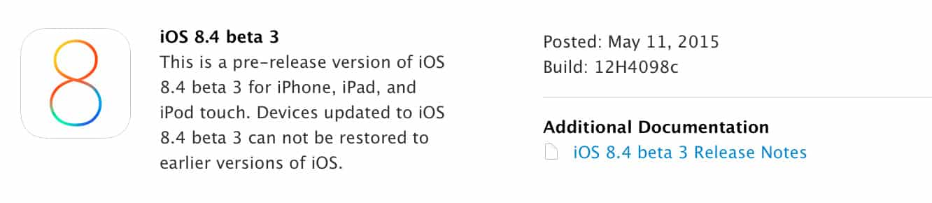 Apple releases third iOS 8.4 beta to developers