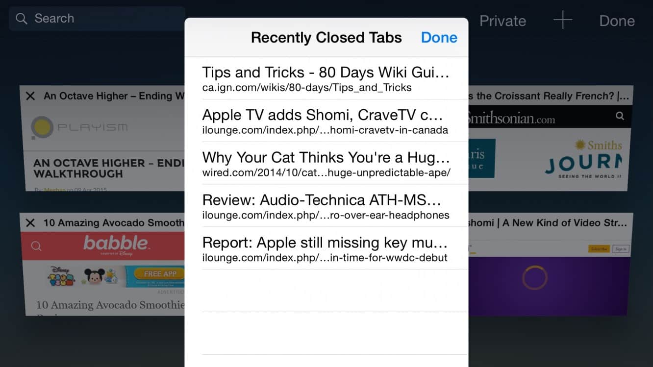 Accessing Recently Closed Tabs in Safari