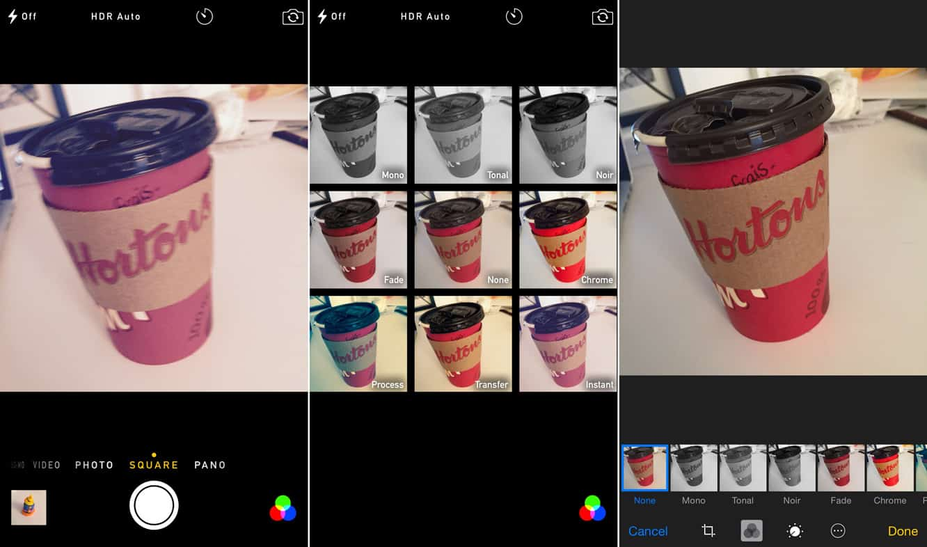 Applying and removing Filters in Camera + Photos