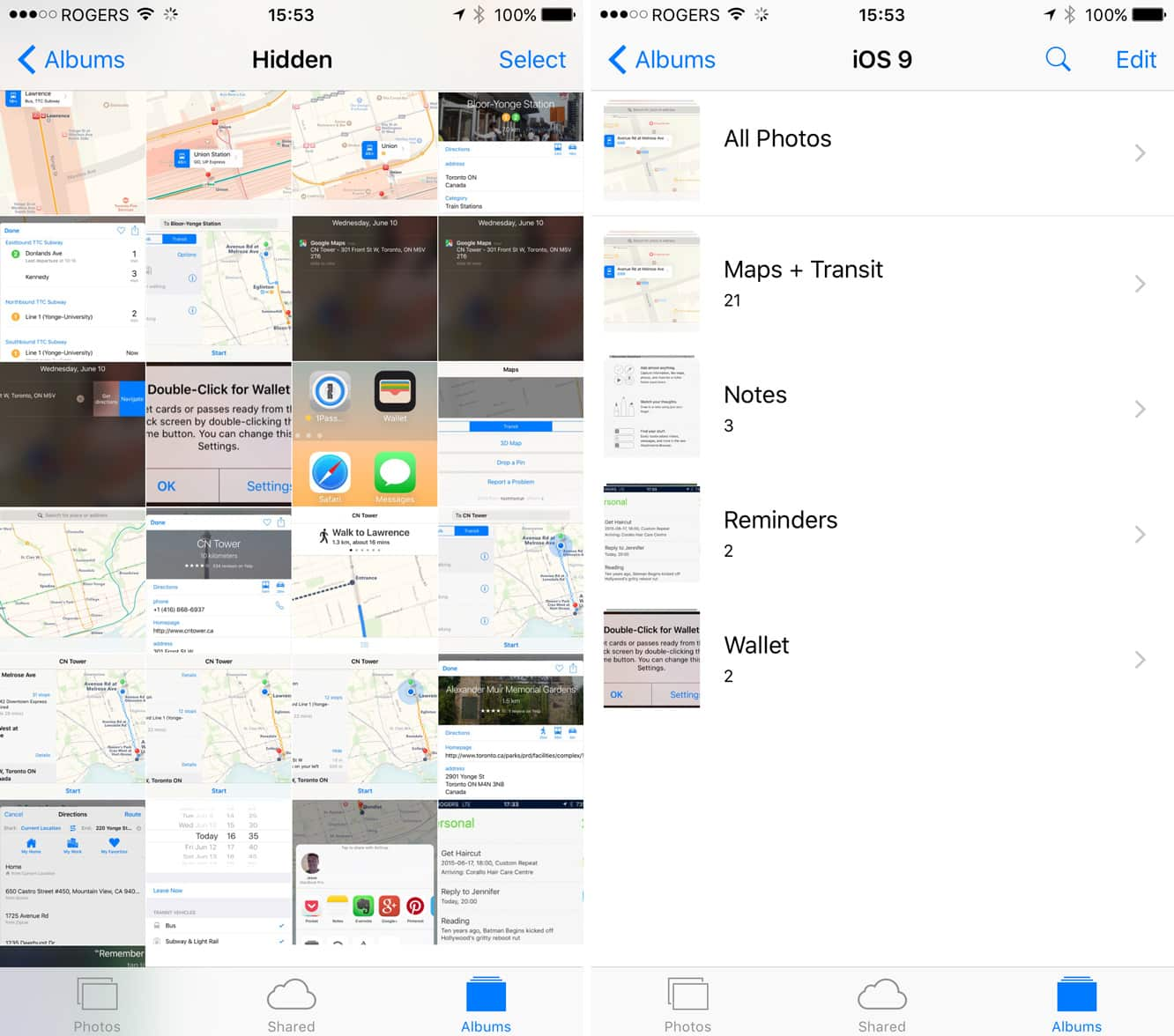 Moving photos from main timeline into albums in iOS 8