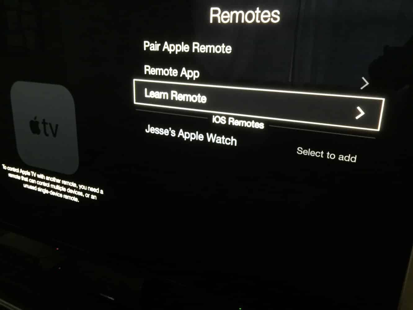 Using the Apple Watch as an Apple TV Remote