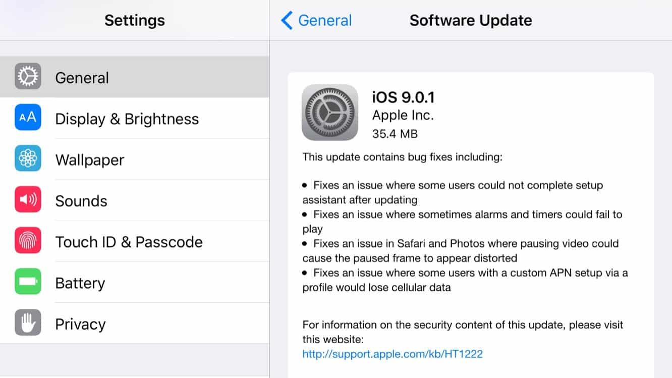 Apple releases iOS 9.0.1 to public, iOS 9.1 beta 2 to developers (Update: public beta also)