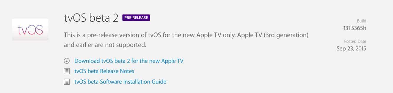 Apple releases tvOS beta 2 to developers