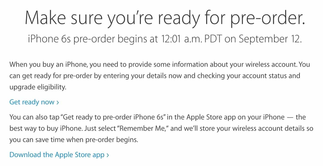Apple posts iPhone 6s 'Get ready for pre-order' instructions