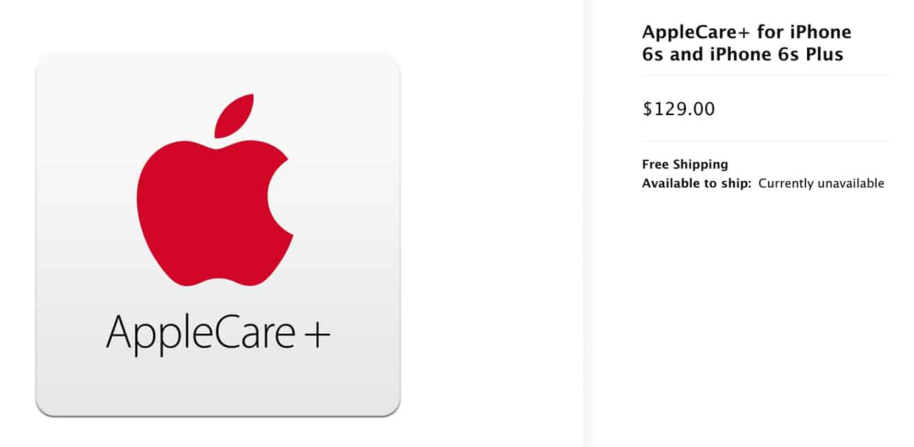 Apple increases AppleCare+ pricing for iPhone 6s