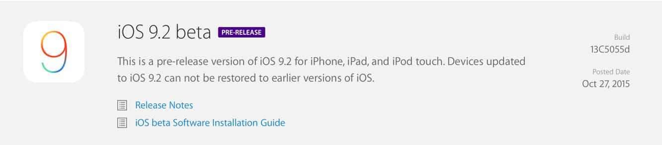 Apple releases first iOS 9.2 beta to developers