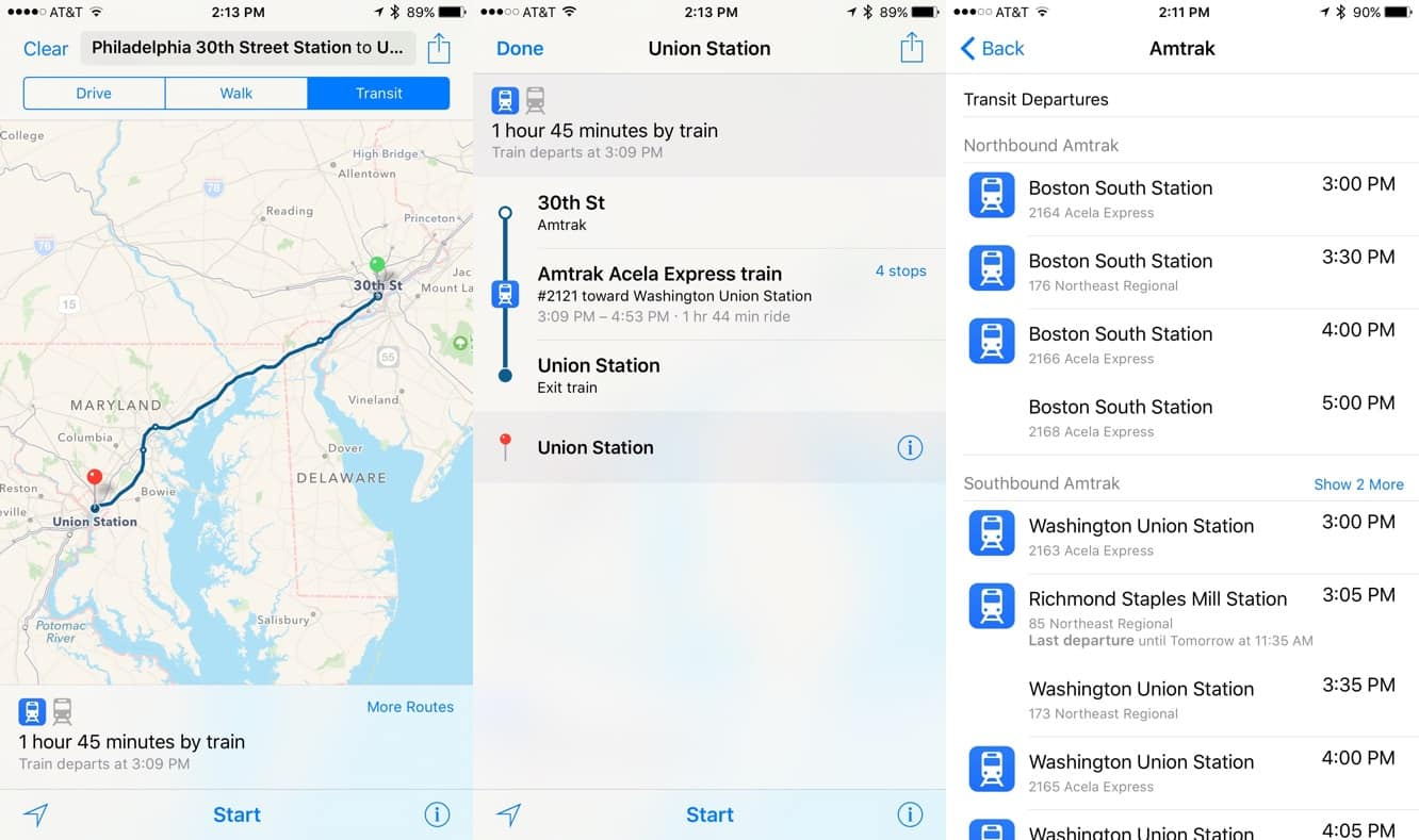 Apple Maps adds Amtrak routes, Boston transit directions