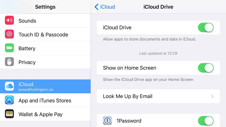 Enabling iCloud Drive app in iOS 9
