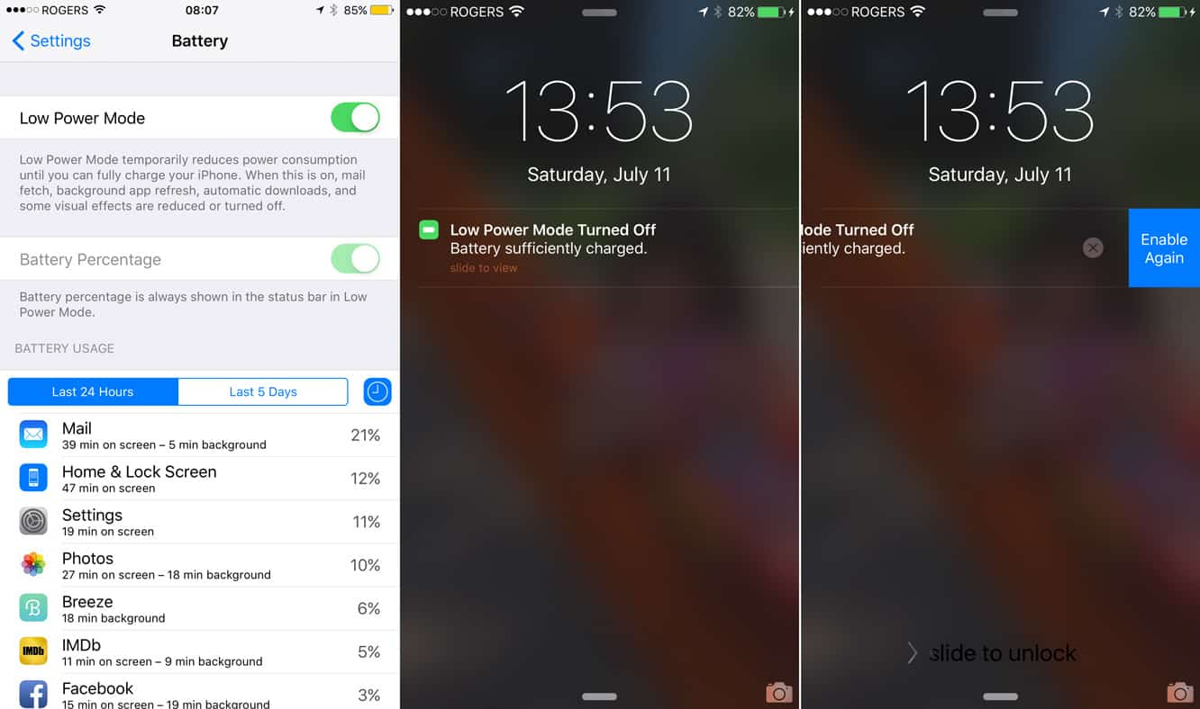 Engaging Low Power Mode in iOS 9