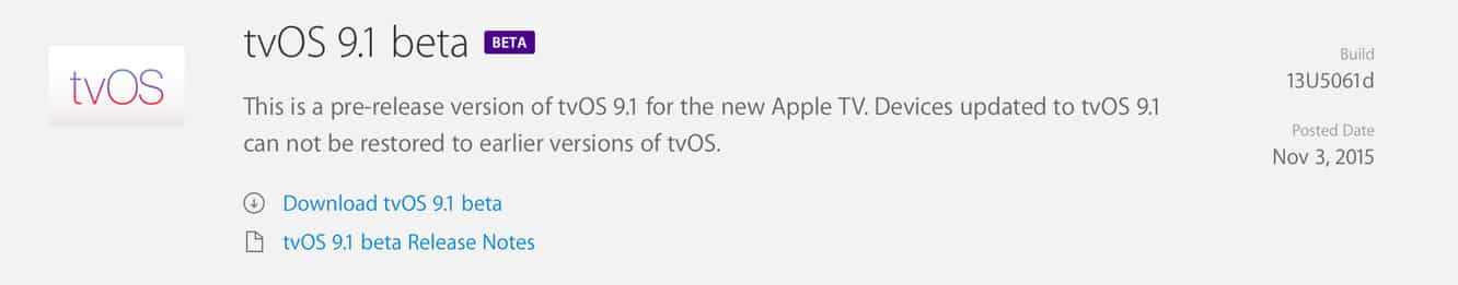Apple releases first tvOS 9.1 beta