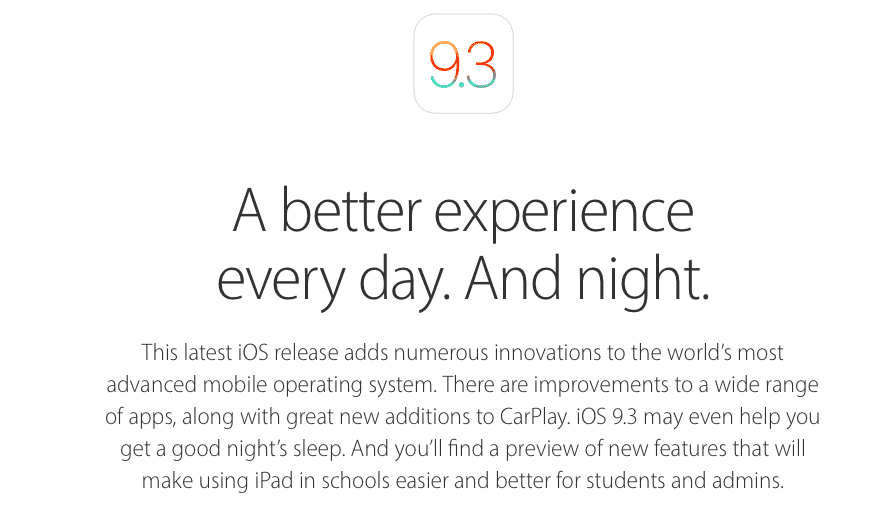 Apple's iOS 9.3 Preview page highlights 'Night Shift' mode + more