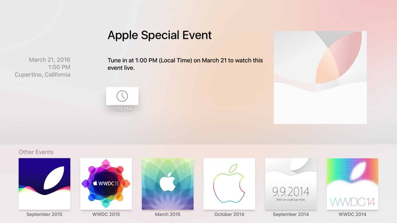 Apple releases Apple Events app on Apple TV for Monday's event