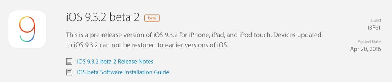 Apple releases second developer betas for iOS 9.3.2, watchOS 2.2.1