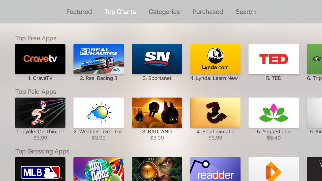 Apple TV App Store now removes installed apps from Top Charts