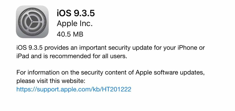 Apple releases iOS 9.3.5 'security update'