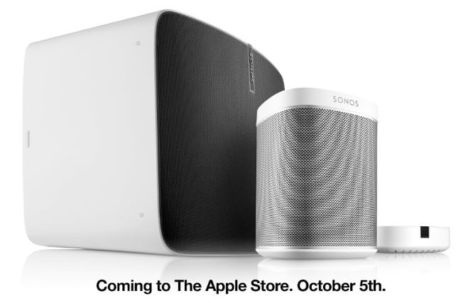 Sonos speakers available on Apple's online store today, in Apple Stores next month