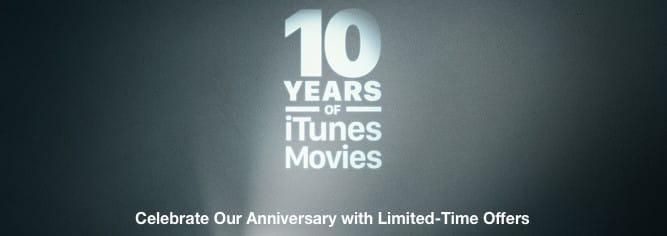 Apple offering 10-movie bundles for $10 today to celebrate iTunes Movies' 10th anniversary