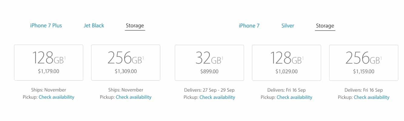 Apple opens iPhone 7 preorders, Jet Black model sells out in minutes.
