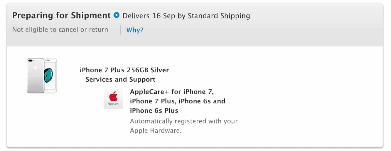Apple iPhone 7 preorders for Sept 16 delivery begin entering 'Preparing for Shipment' stage