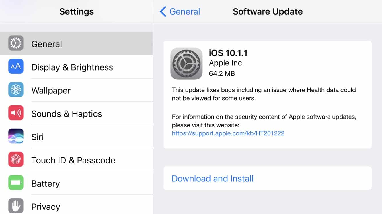 Apple releases iOS 10.1.1 with Health data fix