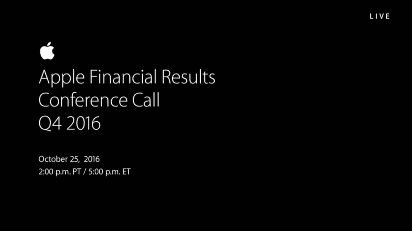 Notes from Apple's Q4 2016 earnings call