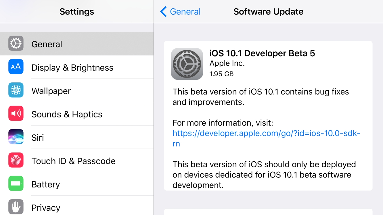 Apple releases fifth beta of iOS 10.1 to developers