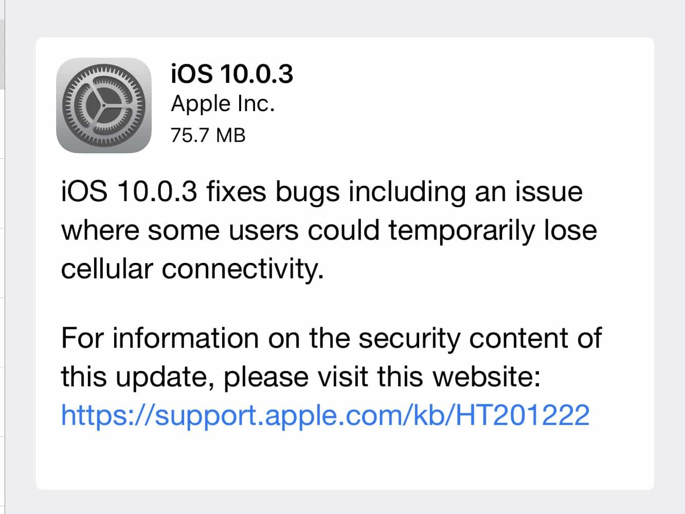 Apple releases iOS 10.0.3 to fix cellular connectivity bug in iPhone 7/7 Plus