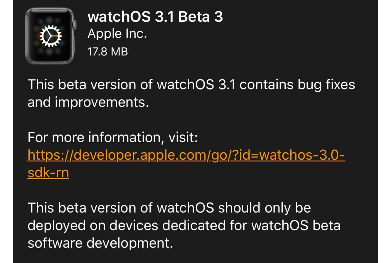 Apple releases third developer beta for watchOS 3.1