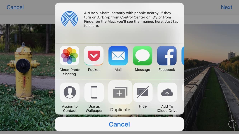 Duplicating a Photo in the iOS Photos app