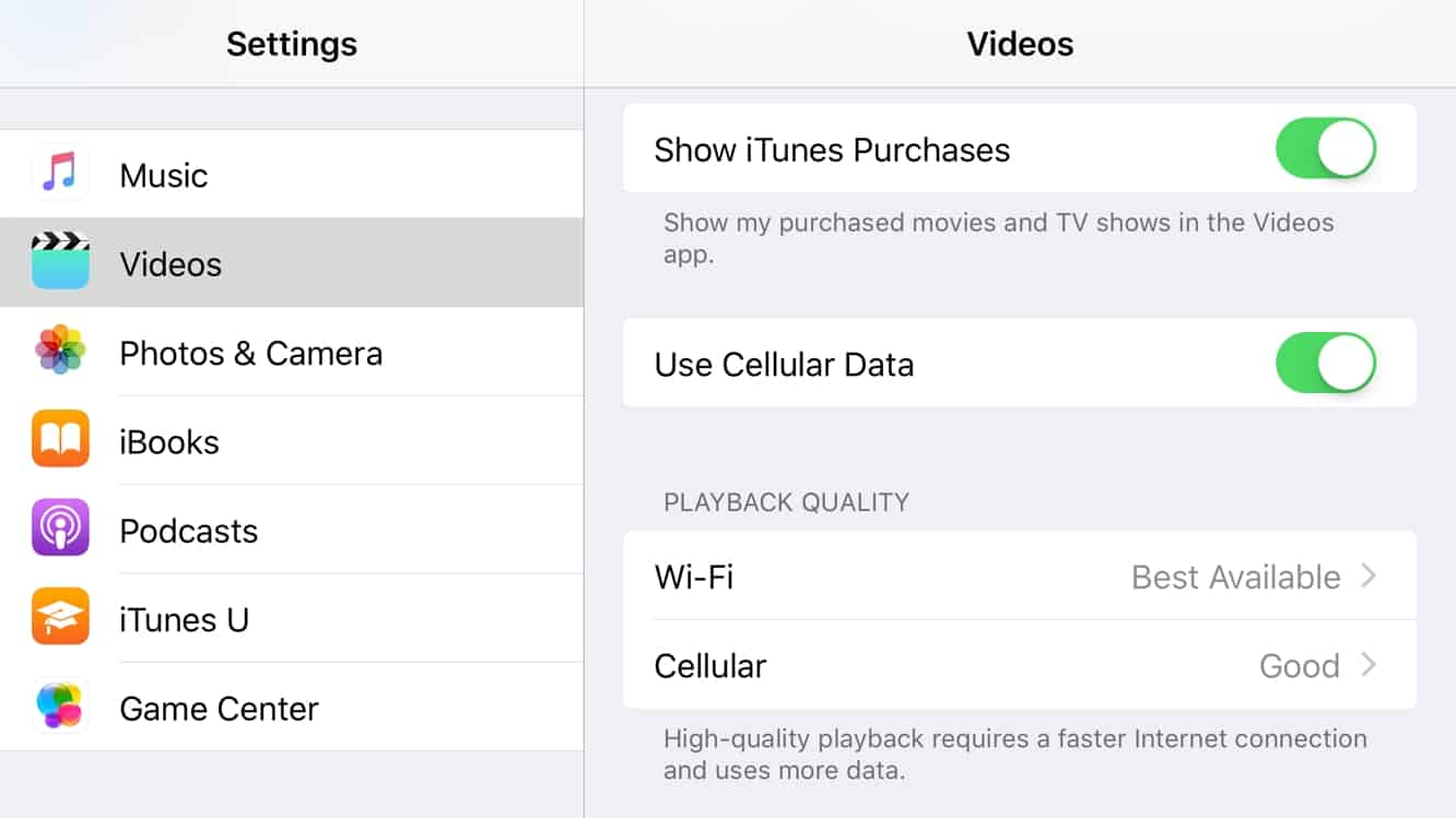 Adjusting Video Playback Quality to control data usage in iOS 10