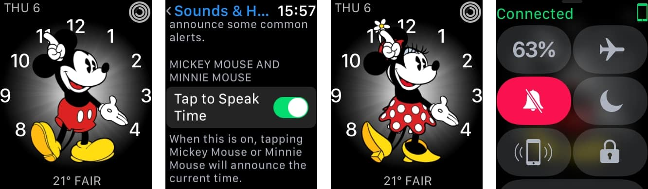 Making the Mickey and Minnie Mouse Apple Watch faces speak the time