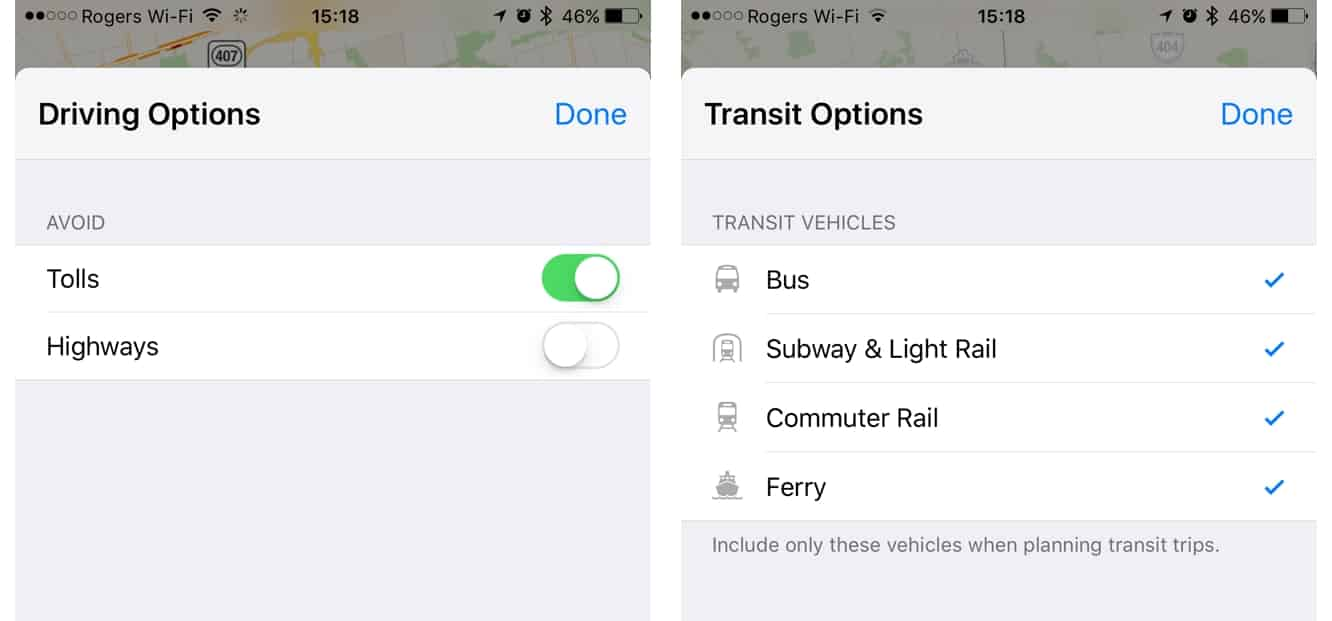Choosing preferred Driving + Transit options in iOS 10 Maps