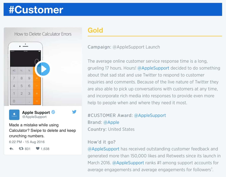 Twitter awards Gold Customer Service Award to Apple