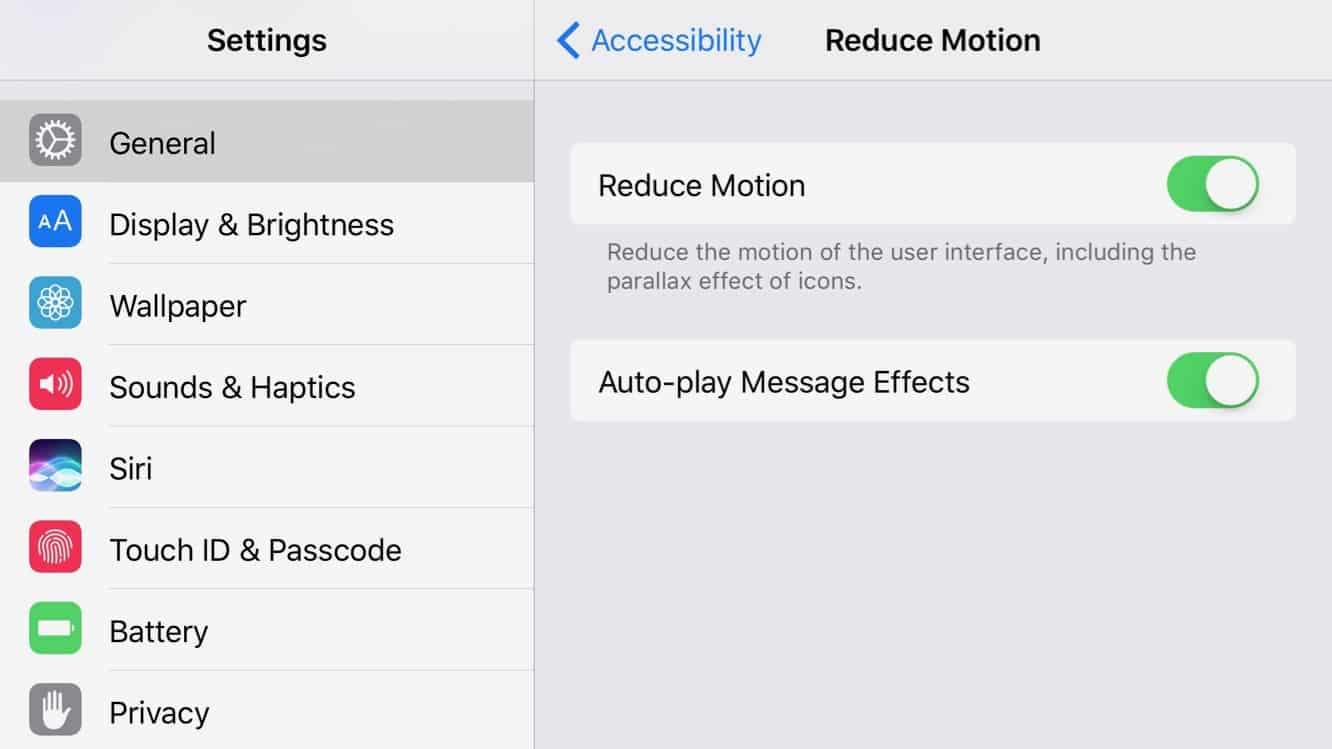 Enabling Message Effects with Reduce Motion enabled in iOS 10.1