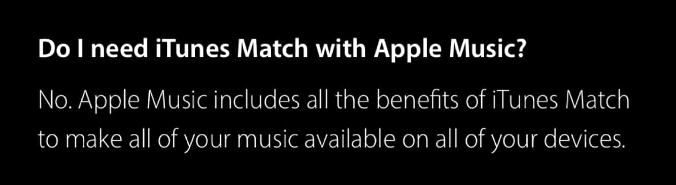 Apple clarifies relationship between Apple Music and iTunes Match