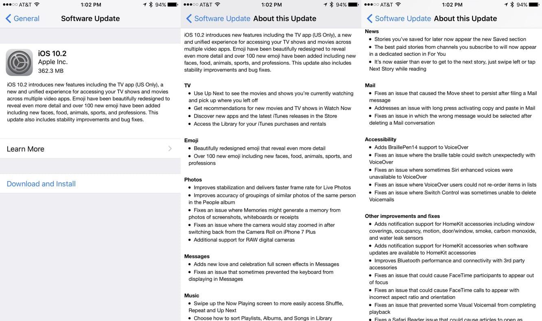 Apple releases iOS 10.2, tvOS 10.1, watchOS 3.1.1