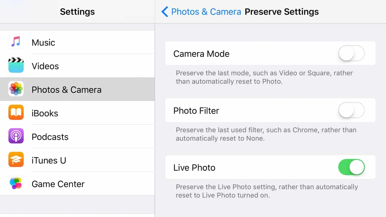 Preserving Camera settings in iOS 10.2