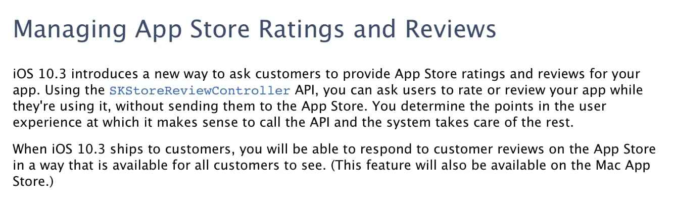 iOS 10.3 to improve in-app rating experience, allow developers to respond to App Store reviews