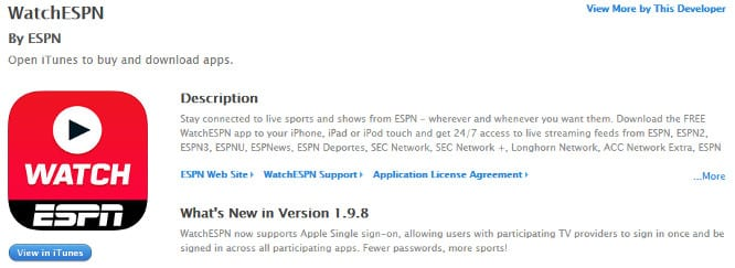 ESPN's iOS apps add support for Single Sign-On